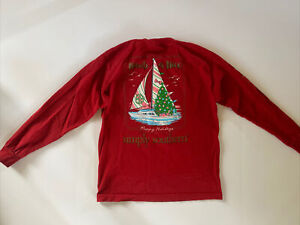 Simply Southern Red LS Shirt Youth Girl L Nautical Nice Sail Boat Preppy Holiday