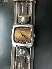 Mens Fossil Brown Leather Cuff Watch