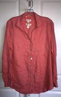 Malvin Hamburg Germany Coral Linen Shirt Blouse Tunic Pintuck Sz 10 LG Lagenlook