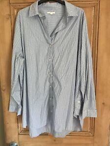 COS Women Oversized Blue Cotton Stripped Shirt. EUR 44. Excellent Condition