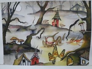 ORIGINAL ARTWORK SWAMP  FAIRY VILLAGE MUSHROOM SWAMP IMP WATERCOLOUR PAINTING...