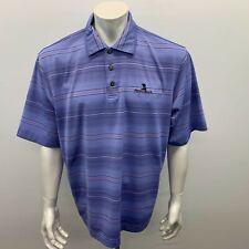 Pebble Beach Polo Shirt Men's Size XL Blue Black Striped Short Sleeve Polyester