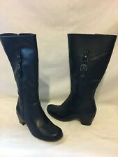 CLARKS Black Leather Tall Riding Boots with  Buckle - 6 M  - EUC
