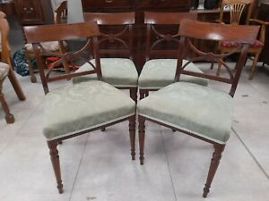 Set of Four Antique Regency Mahogany Inlaid Dining Chairs.