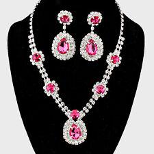 Pink diamante crystal necklace set Brides Bridesmaids Proms statement jewellery