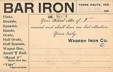 Bar Iron, Wabash Iron Company, Advertising Postcard, Terre Haute In Indiana 1897