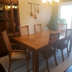 Drexel Heritage Dorothy Draper Campaign style Dining Room Set with China Cabinet