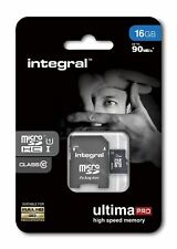 SDHC 16gb Micro Memory Card Class 10 Integral Ultima Pro XC 90mb + Adaptor NEW