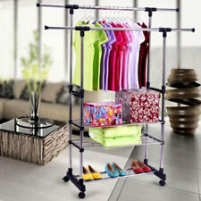 Adjustable Heavy Duty Clothes Garment Hanger Rack Rolling Rail 3 Tiers Rack New