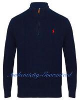 Ralph Lauren Polo Men's Half Zip Chain Knit Cotton Navy Grey Jumper RRP £125