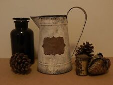 SHABBY RUSTIC DISTRESSED WHITE METAL TIN WATER PITCHER JUG VASE
