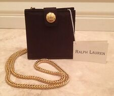 RALPH LAUREN BLACK LABEL High Quality Evening Bag Heavy Gold Chain Crest Vtg NEW