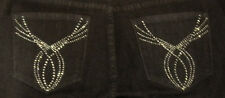 Not Your Daughters Jeans NYDJ Dark Enzyme Denim Bling Boot Cut Jeans Size 8*
