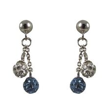 4mm Blue & White Crystal Balls Sterling Silver Kids Dangle Earrings