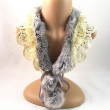COLLAR NECKLACE handmade WOMEN lace GRAY Fur WHITE layered lace crystals choker