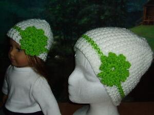 "Matching White Green Crochet Hats Fits 18"" American Girl Doll & Child"