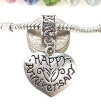 Happy Anniversary Heart Dangle Interchangeable Bead for European Charm Bracelet