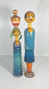 Vintage Hand Painted Folk Art Wooden Spindle Figurines