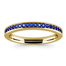 0.62 Ct Round Engagement Blue Sapphire Eternity Ring 14K Real Yellow Gold Size O