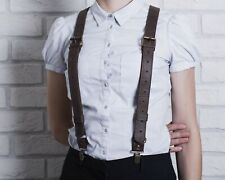 Vintage Leather Suspenders For Men Women Heavy Duty Clips Fashion Style Gift