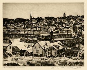 LAWRENCE NELSON WILBUR, 'GLOUCESTER HARBOR', signed drypoint, 1940.