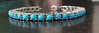 "925 Sterling Silver 18.03Ct Sleeping Beauty Turquoise Tennis Bracelet 7.5"""