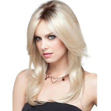 Women Long Wig Synthetic Lace Front Wig Blonde Long Straight Wig Ombre Full Wigs