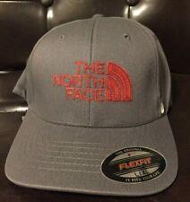 THe North Face Never Stop Exploring Flex Baseball Cap Hat Asphalt Grey Red
