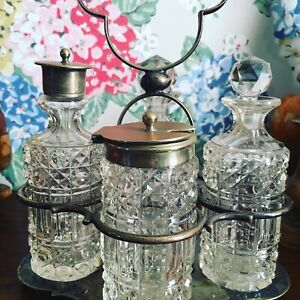 Vintage Cut Glass With Silver Plated Tops Cruet Set With Silver Plated Stand