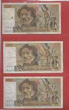 Lot de 3 x 100 FRANCS EUGENE  DELACROIX de 1981/1982 ALPHABETS C.54  D.55