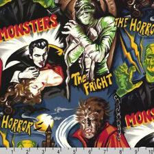 BY YARD-Pleasures and Pastimes Monster Horror Movie Fabric Kaufman 5278-2 DTY