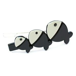 Moliabal Milano Fish Trio Ball Clip Pin-  Black | Ivory