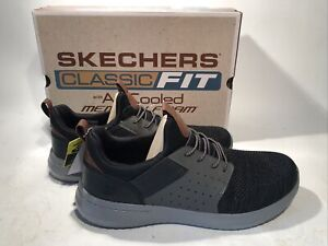 New Skechers Mens 2021 Delson 3.0 Classic Fit Sneaker Black Athletic Free Ship!