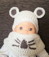 Sale! Chunky Crochet Hat With Ears & Snood/ Baby Hat/ Scarf/ Snood