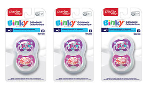 Playtex Binky Orthodontic Silicone Pacifier, 6M+, 2 Ct, Pink/Purple (3 Pack)