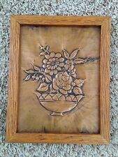 """Etched Engraved Hammered Tooled Copper 7.5X9.5"""" Pot of Flowers Art Picture"""