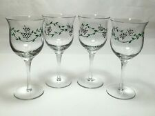 Set of 4 Hand Painted Grapes Vines Wine Water Goblet Glasses Large Flared Bowl