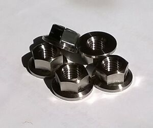 5x Titanium M8 Flange Nuts 12/17mm Kit Car Hot Rod Bike Light Weight