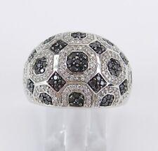 14K White Gold 1 ct Black Diamond Wedding Ring Dome Anniversary Band Size 7