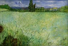 Van Gogh Wheat Field with Cypress Repro, 100% Hand Painted Oil Paint, 24x36in