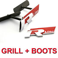 Red R Line Rline Front & Boot Grill Badge Emblem For VW Golf Polo Passat Touareg