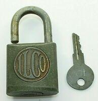 Vintage ILCO Green Padlock Lock With Key Works Security
