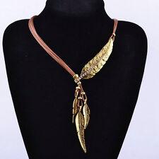 Statement Bib Crystal Tassels Leaf Pendant Vogue Leather Choker Chunky Necklace