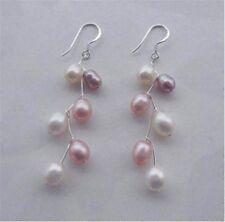 Beautiful akoya saltwater cultured pearls pink white earrings Silver Hook AA