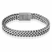Armband massiv mit Magnetverschluss Silber aus Edelstahl Herren Panzerarmband