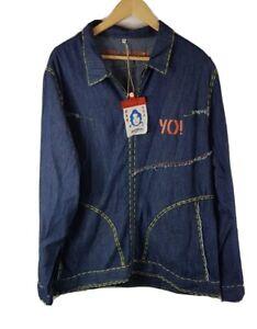 Yo Japan Mens Denim Shirt Dark Blue XL Size Extra Large New Zip Through BNWT