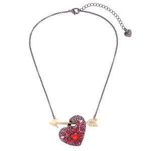 NEW Stylish Anthropologie Shooting Arrow Heart Pink Rhinestone Drop Necklace