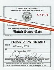 Us Navy Armed Forces Honorable Discharge Laminated Id Card 2 1/8 X 3 3/8, Dd 217