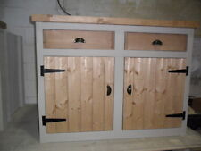 Rustic Solid Pine, Chunky, Handmade, Kitchen Cupboard, wiith Splashback to Top