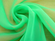 Fabulous LIME-LIGHT KELLY GREEN CHIFFON Sheer Billowy Poly Solid Fabric